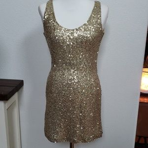 TOBI gold sequined dress